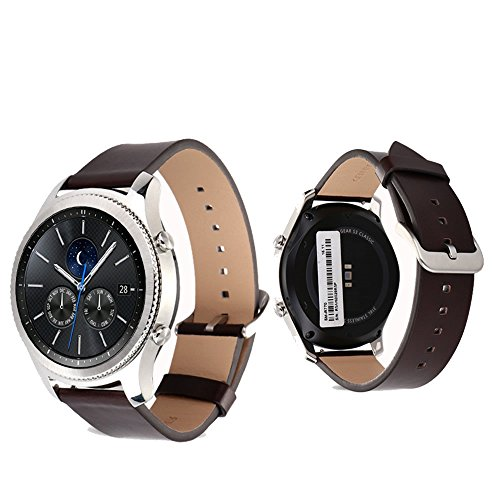 Gear S3 Frontier Classic Watch Band Pinhen 22MM Genuine Leather Strap Replacement Buckle Strap Wrist Band for Samsung Gear S3 Frontier / Classic (Leather - Frontier Watch Chrome