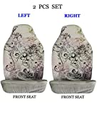 ALLBrand Universal Fit Front 2-Piece Full Set Sublimation Print Custom Design High Back Front Bucket Seat Covers (Flower 2/Gray)