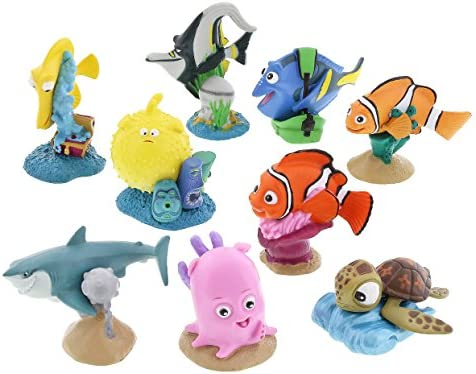 DISNEY OFFICIAL Pack of 9 ***FINDING NEMO***Figurines NOTE Slightly damaged box