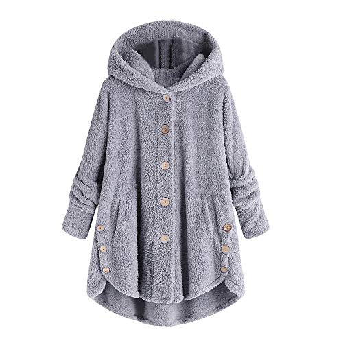 Dressin Women Jacket Winter Plus Size Ladies Fashion Button Coat Fluffy Tail Tops Hooded Pullover Loose Sweater