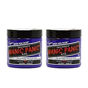 "Manic Panic Semi-Permanent Hair Color Cream - Ultra Violet 4oz ""Pack of 2"""
