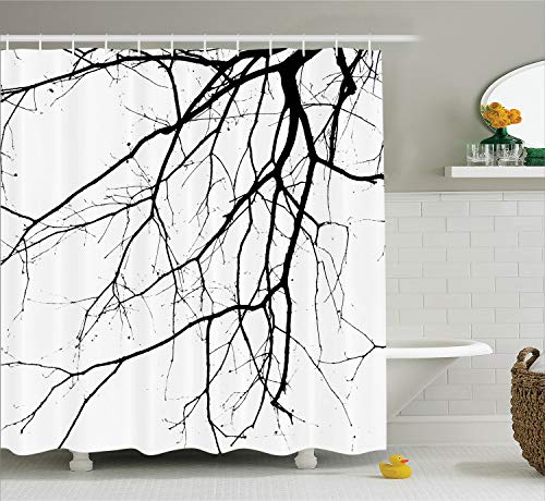 Ambesonne House Decor Shower Curtain Set, Close Up Shot of Leafless Winter Tree Branches Idyllic Twigs of Oak Nature Print, Fabric Bathroom Decor with Hooks, 84 Inches Extra Long, Black and White - Oak Tree House
