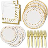 White and Gold Dot Disposable Paper Plates & Napkins; 50 Dinner Plates 50 Dessert Plates 100 Luncheon Napkins 100 Gold Forks; For Bridal Baby Shower Wedding Anniversary Engagement Birthday Party