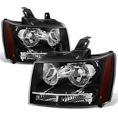 Chevrolet Tahoe Headlight Headlamp - ForBlack Bezel 07-13 Suburban Tahoe Avalanche Headlights Front Lamps Direct Replacement Left + Right