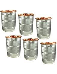 Water Drinking Glasses Set of 6 Copper and Stainless Steel Indian Drinkware, Capacity 250 Ml