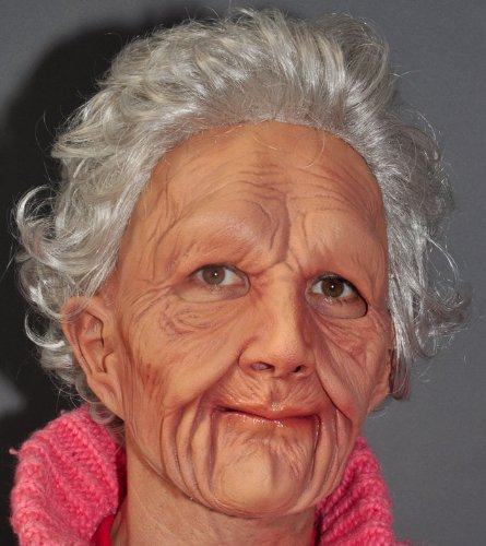 Realistic Old Lady Woman Quality Mask Moving Mouth Hair Over the Hill Grandma