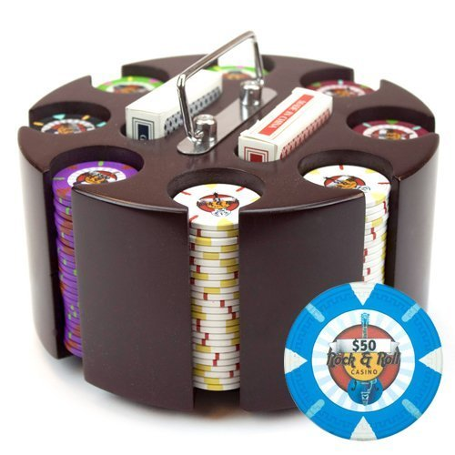 Claysmith Gaming 200-Count 'Rock & Roll' Poker Chip Set in Wooden Carousel, 13.5gm ()