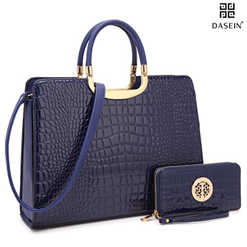 Dasein Patent Croco Briefcase Satchel Shoulder Bag Handbag