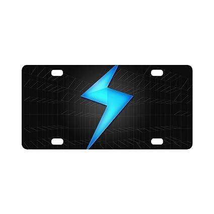 Oksty Personalized License Plate Blue Lightning Ornamental License Plate 4 Hole