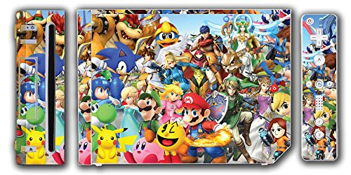 Super Smash Bros Melee Brawl Mario Pikachu Yoshi Mega Man Zelda Sonic Metroid Video Game Vinyl Decal Skin Sticker Cover for the Nintendo Wii System Console (Nunchuk Cover Skin)
