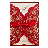 Elegant Red Laser Cut Wedding Invitations Cards with Lace Flower Ribbon Hollow Pattern Cardstock for Baby Shower Bridal Shower Engagement Birthday Fancy Party Invites Favors CW5113 (100 Piece)