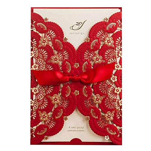 WISHMADE Elegant Red Laser Cut Wedding Invitations Cards with Lace Flower Ribbon Hollow Pattern Cardstock for Baby Shower Bridal Shower Engagement Birthday Fancy Party Invites Favors CW5113 (20 Piece)