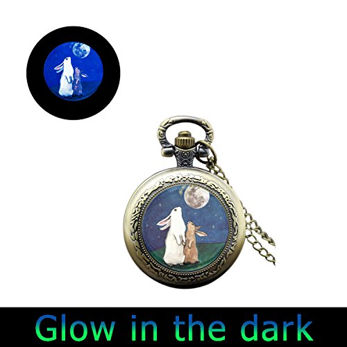 Glowlala glow Bunny Rabbit pocket watch Necklace I Love You to The Moon and Back watch necklace Mothers Day Gift Silver brass or black pocket watch Jewelry (2) ()