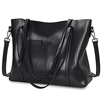 S-ZONE Women Genuine Leather Top Handle Satchel Daily Work Tote Shoulder Bag Large Capacity, Black (Black) - S-ZONE D10V069A
