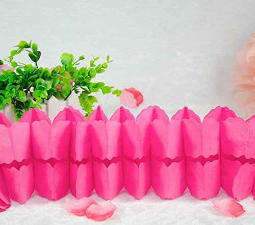 Hanging Garland, Pack of 8 Hot Pink Four-Leaf Clover Tissue Paper Garland, Party Streamers for Party Backdrop Party Decorations, 11 Feet/3M per Each (Hot Pink)