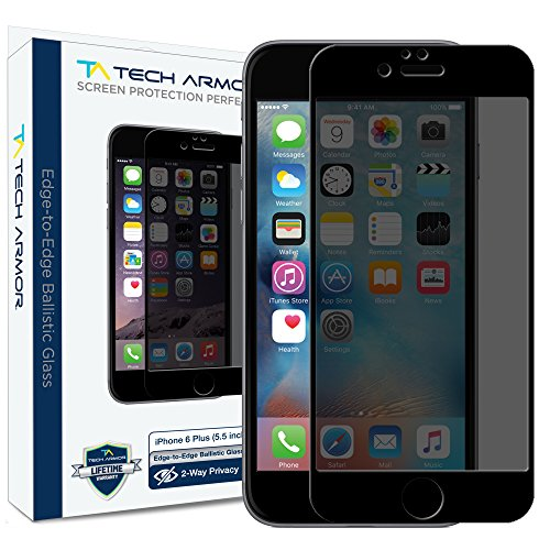 iPhone 6 Plus Screen Protector, Tech Armor Privacy Edge to Edge Glass Apple iPhone 6S Plus / iPhone 6 Plus (5.5-inch) Screen Protectors (Black) - Hide Scratches In Glass To How