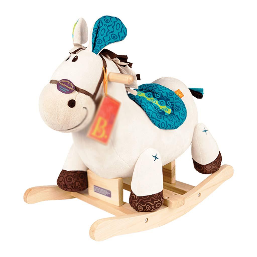 Cavallo a dondolo HUYP Giocattolo del Cavallo di Legno del Giocattolo di Oscillazione della Sedia di Oscillazione dei Bambini Adorabili (colore   Bianca)