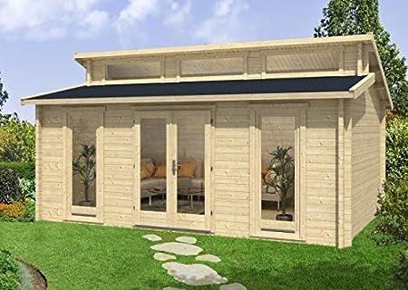 Carlsson Narvig-70 C - Casa de jardín de madera maciza, con 40 mm de grosor de pared, incluye material de montaje, tamaño: 598 x 420 cm, tejado a granel: Amazon.es: Jardín