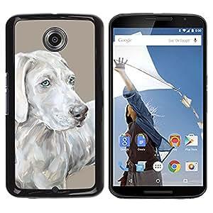 Vortex Accessory Hard Protective Case Skin Cover For Google / Motorola Nexus 6 - Weimaraner Art Painting Grey Blue Dog