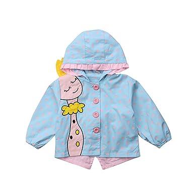 b850fd846568 Amazon.com  Newborn Baby Girl Giraffe Jacket Windbreaker Rain Wear ...