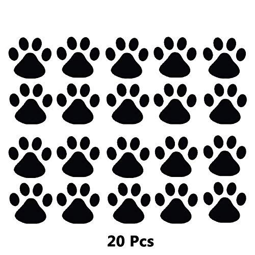 Finduat Dog Paw Prints Sticker - Car or Wall Clings, Dog Pup Removable Vinyl Wall Sticker Decoration Decor for Children Nursery Room Home Decor Art Mural Diy (Black, 20 Pack) ()