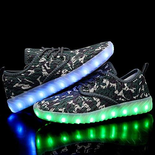 Qzmuse Arcobaleno Colore Misto Ha Portato Scarpe Bambini Scarpe Da Ballo Luminosi Lampeggianti Moda Sneaker Camo Verde