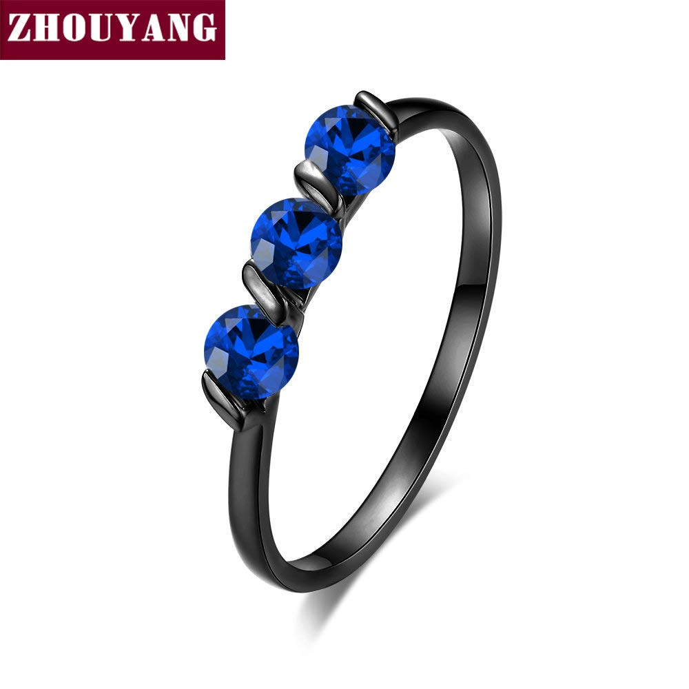 Amazon.com: JEWH Engagement Wedding Ring for Women - Classic Simple CZ Austrian Crystal Rose Gold Color Fashion Jewelry - Sweet Lover Ring (Black Gold Blue) ...