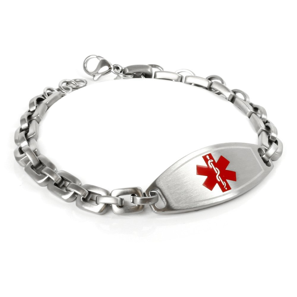 My Identity Doctor Customized Free Engraving Medical Alert Bracelet, 316L Steel Matte 6mm Links - Red