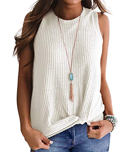- Sarin Mathews Womens Tank Tops Summer Sleeveless Shirts High Neck Casual Tee Shirts Waffle Knit Twist Knot Tunic Tops Blouses White L