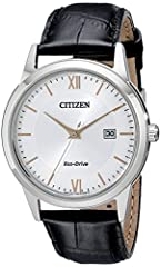 Citizen AW1236-03A Classic Dress Eco-Drive men's watch features a 40mm wide and 9mm thick solid stainless steel case with a fixed bezel and textured push-pull crown. Citizen AW1236-03A is powered by Japanese J810 Eco-Drive movement (Eco-Drive...