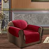 Elegance Linen Quilted Pet Dog Children Kids Furniture Protector Microfiber Slip Cover Chair, Red