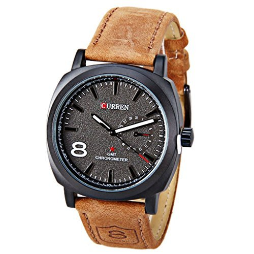 Curren Fashion Brown Leather Band Unisex Watch 1 Arabic Number and Trapezoids Hour Marks Watch (Black)