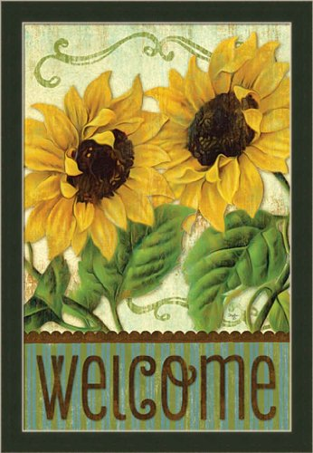 Sunflower Welcome by Mollie B Country Sign Framed Art Print