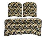3 Piece Wicker Cushion Set - Indoor / Outdoor Wicker Loveseat Settee & 2 Matching Chair Cushions - Black, Brown, Grey/Gray Teardrop Geometric