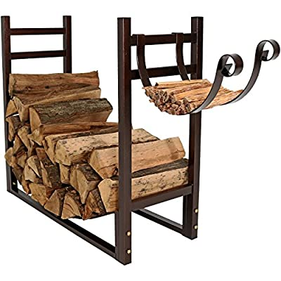 Sunnydaze Indoor/Outdoor Firewood Log Rack with Kindling Holder, 33 Inch Wide x 30 Inch