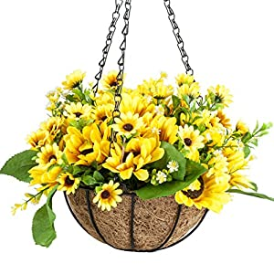 IBEUTES 7.8 inch Artificial Hanging Flower Sunflower Fake Flower Hanging Baskets Silk Plants Decor Indoor Outdoor (No Assembly Required) 5