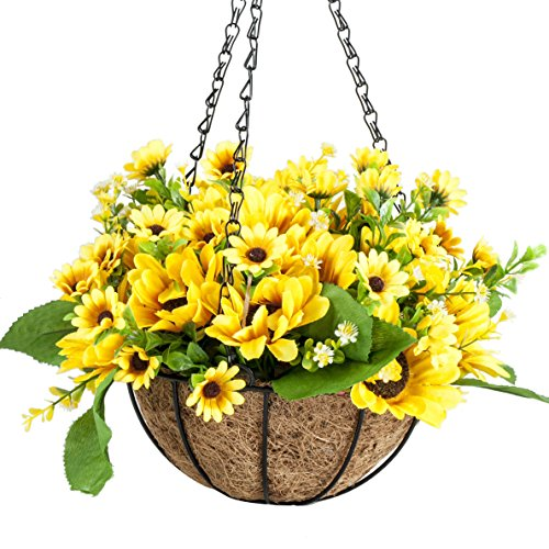 Outdoor Baskets Flower (IBEUTES 20cm Artificial Hanging Flower Sunflower Fake Flower Hanging Baskets Silk Plants Decor Indoor Outdoor (No Assembly Required))