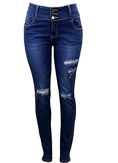 d1a4d1a08bb Image Unavailable. Image not available for. Color: Vinizbena Curve-Fection! Push  up Skinny fit Ripped Denim Jeans ...