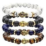 JOVIVI 8MM Unisex Black Lava/Tiger Eye/ Lapis/Turquoise Energy Stone Mala Beads with Gold Buddha Bracelets