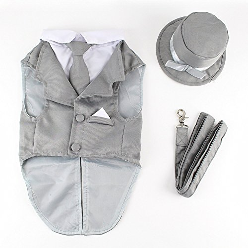 Midlee Dog Tuxedo Wedding Suit- Gray Top Hat & Leash (XX-Large)