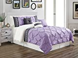 quilts king size purple - 7 Pieces KING size Lilac Purple / White / Grey Double-Needle Stitch Pinch Pleat All-Season Bedding-Goose Down Alternative Embroidered Comforter Set