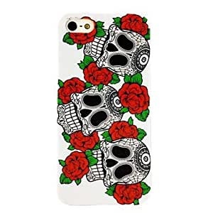 PEACH Punk Skull Flower Pattern Plastic Hard Case for iPhone 5/5S
