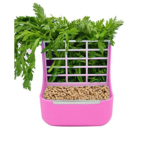 Plastic Pet Rabbits/Chinchillas/Guinea Pigs 2 In 1 Feeder Bowls Double use for grass/food, Ideal for Small Animals (Pink)
