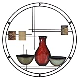Hosley 24'' Diameter Abstract Vases Metal Circle Wall Art. Ideal Gift for Weddings, Special Occasion, Home Decor, Party, Spa, Votive/LED Gardens, Home Office O6