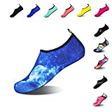 Mens Womens Water Shoes Barefoot Beach Pool Shoes Quick-Dry Aqua Yoga Socks for Surf Swim Water Sport (Blue.Moon, 40/41EU)