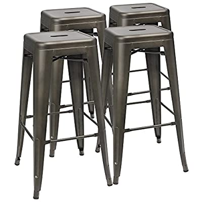 "Furmax 30'' Metal Stools High Backless Metal Stool Tolix Bar Stool 30"" High Backless Indoor-Outdoor Stackable Stools with Square Seat Black Gloden ( Set of 4)"