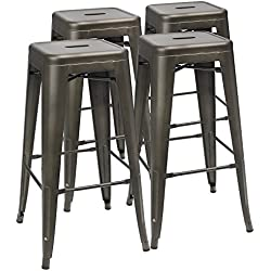 Furmax 30'' High Metal Stools Backless Metal Bar Stool Indoor-Outdoor Stackable Stools with Square Seat Gun Metal Modern Stool (Set of 4)