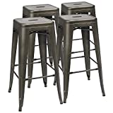 "Furmax 30"" High Backless Metal Indoor-Outdoor Stackable Bar Stools with Square Seat, Set of 4, Gun For Sale"