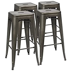 Swell Furmax 30 Inches Metal Bar Stools High Backless Stools Indoor Outdoor Stackable Kitchen Stools Set Of 4 Gun Ocoug Best Dining Table And Chair Ideas Images Ocougorg