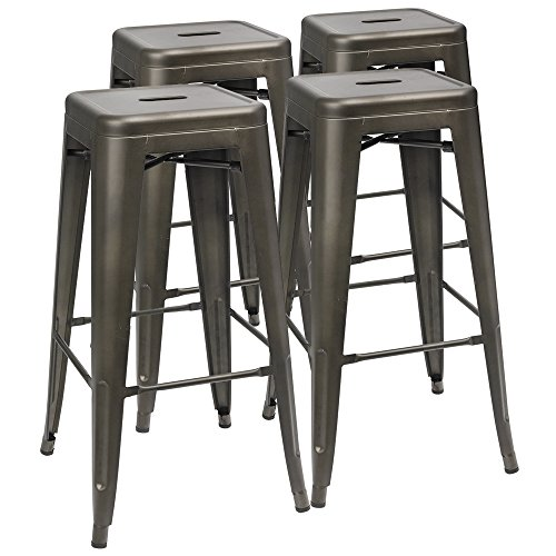 "Furmax 30'' Metal Stools High Backless Metal Stool Tolix Bar Stool 30"" High Backless Indoor-Outdoor Stackable Stools with Square Seat Black Gloden (Set of 4)"